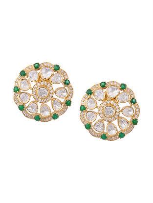 Green Gold Plated Kundan Silver Earrings