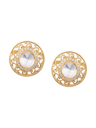 Gold Plated Kundan Silver Stud Earrings