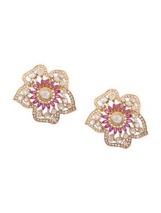 Maroon Gold Plated Kundan Silver Earrings