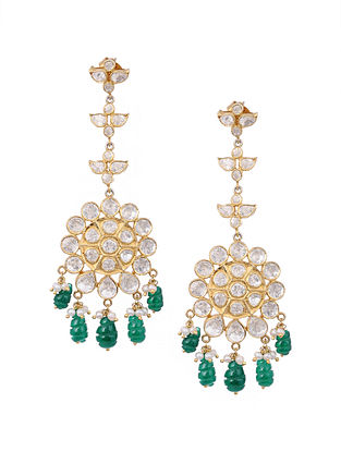 Green Gold Plated Kundan Silver Earrings with Pearls
