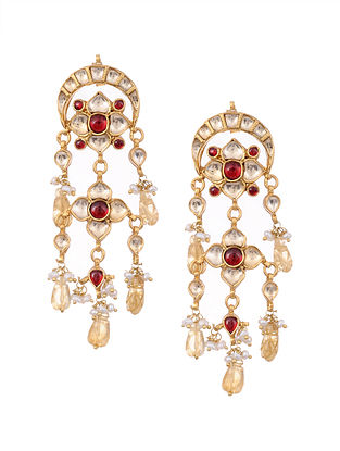Red Gold Plated Kundan Silver Earrings with Pearls and Citrine
