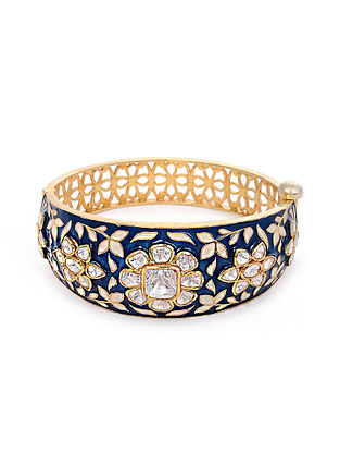 Blue Meenakari Gold Plated Kundan Silver Bangle (Bangle Size; 2/5)