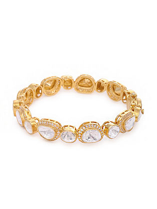 Gold Plated Kundan Silver Bangle (Bangle Size: 2/4)