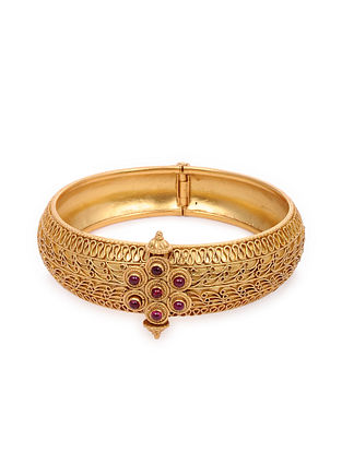 Maroon Gold Plated Silver Bangle (Bangle Size: 2/6)