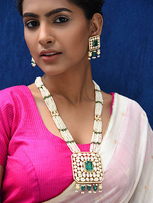 Green Gold Plated Pearl Beaded Kundan Silver Necklace with Earrings