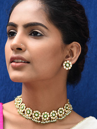 Green Meenakari Gold Plated Kundan Silver Necklace with Earrings