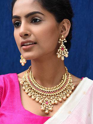 Maroon Gold Plated Kundan Silver Necklace with Earrings