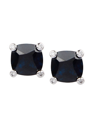 Blue Silver Stud Earrings