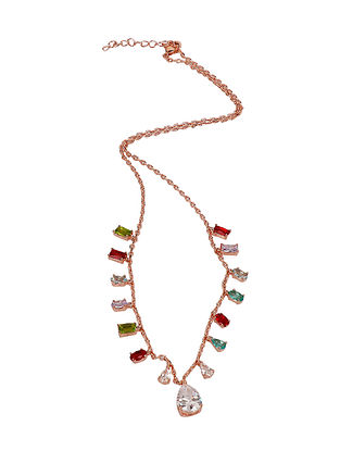 Multicolored Rose Gold Tone Silver Necklace