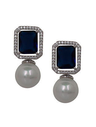 Blue Silver Earrings with Pearls