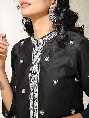 Black Chikankari Embroidered Chanderi Kurta with Slip