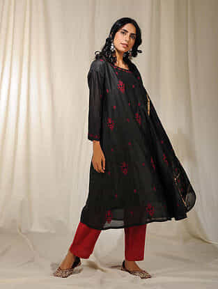 Black Chikankari Embroidered Chanderi Kurta with Slip