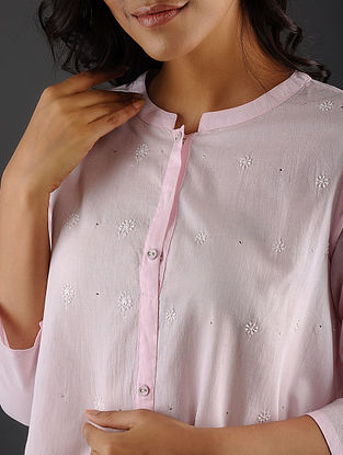 KAMALA SURAYYA - Pink Chikankari Cotton Kurta with Mukaish