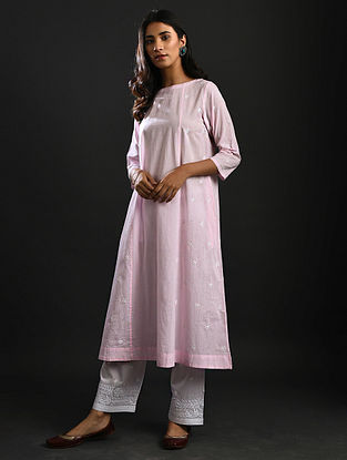 SAROJINI NAIDU - Pink Chikankari Cotton Kurta with Mukaish