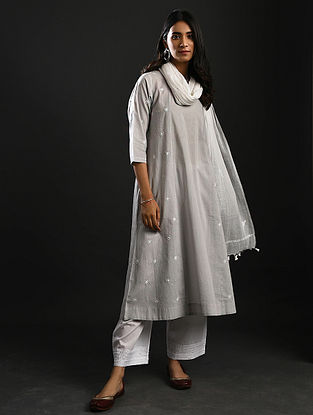ZEB-UN-NISA - Grey Chikankari Cotton Kurta with Mukaish