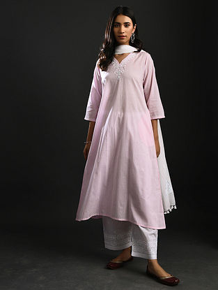 MAHADEVI VERMA - Pink Chikankari Cotton Kurta with Mukaish