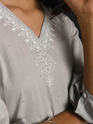 TORU DUTT - Grey Chikankari Cotton Kurta with Mukaish