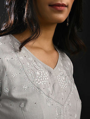 ASHAPOORNA DEVI - Grey Chikankari Cotton Kurta with Mukaish