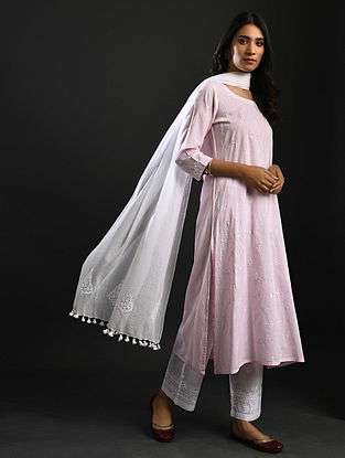 MIRABAI - Pink Chikankari Cotton Kurta with Mukaish