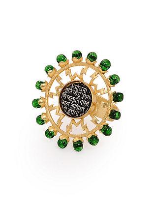 Green Dual Tone Adjustable Brass Ring