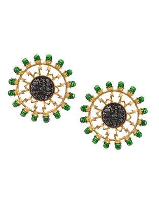 Green Dual Tone Brass Stud Earrings