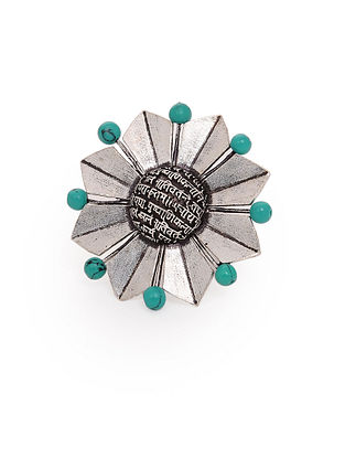 Turquoise Silver Tone Adjustable Brass Ring