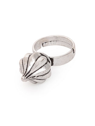 Classic Silver Tone Adjustable Brass Ring
