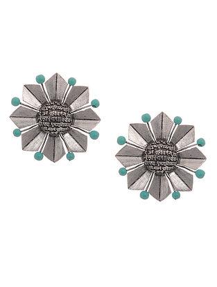 Turquoise Silver Tone Brass Stud Earrings