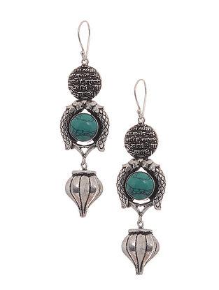 Turquoise Silver Tone Brass Earrings
