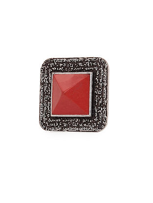 Coral Silver Tone Adjustable Brass Ring
