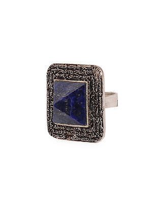 Blue Silver Tone Adjustable Lapiz Brass Ring