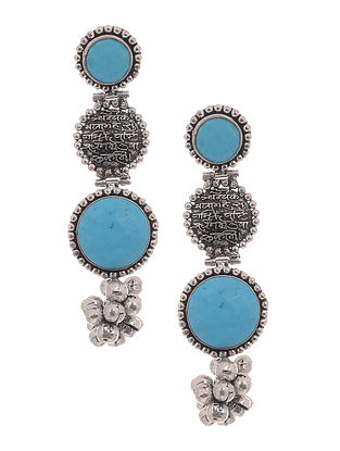 Turquoise Silver Tone Brass Earrings with Ghungroo