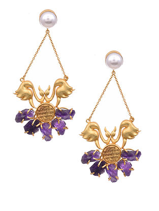 Amethyst Gold Tone Earrings with Pearls