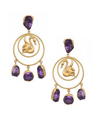 Amethyst Gold Tone Earrings