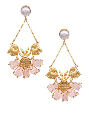 Rose Quartz Gold Tone Earrings with Pearls