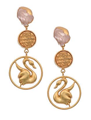 Rose Quartz Gold Tone Earrings
