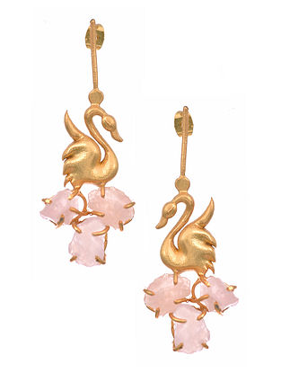 Rose Quartz Gold Tone Earrings