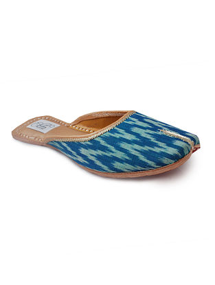 Blue Handcrafted Ikat Cotton and Leather Mojaris