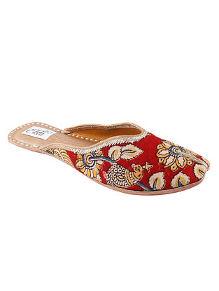 Red Handcrafted Kalamkari Cotton and Leather Mojaris
