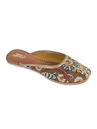 Multicolored Handcrafted Kalamkari Cotton and Leather Mojaris