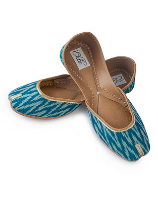 Blue Handcrafted Ikat Cotton And Leather Juttis