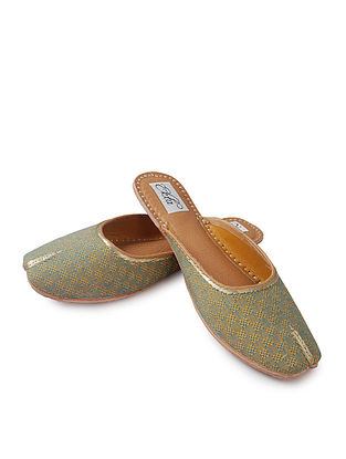 Green Handcrafted Woven Cotton and Leather Mojaris