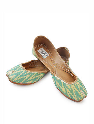 Green-Yellow Handcrafted Ikat Cotton and Leather Juttis