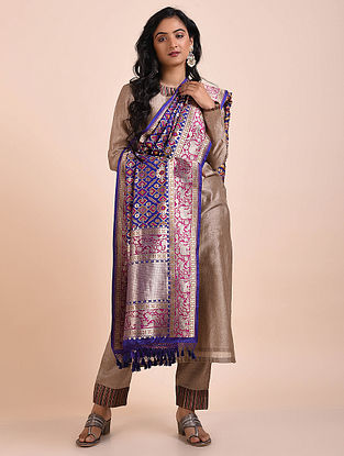 Blue-Purple Benarasi Cutwork Silk Dupatta