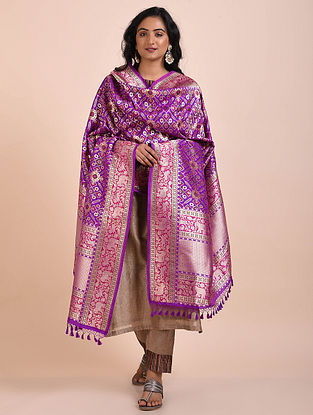 Purple Benarasi Cutwork Silk Dupatta