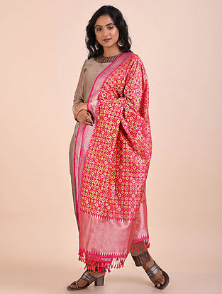 Pink-Yellow Benarasi Cutwork Silk Dupatta