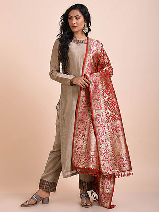 Red Benarasi Cutwork Silk Dupatta