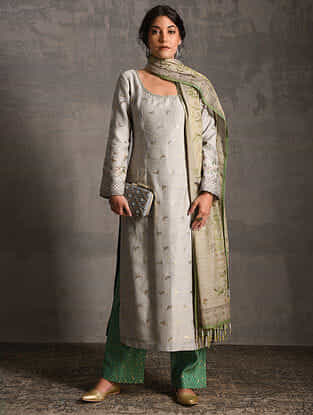 Grey Printed Handwoven Banarasi Cotton-Silk Tunic with Pants and Dupatta (Set of 3)