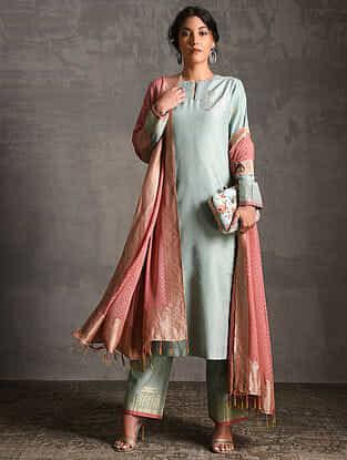 Sky Blue Printed Handwoven Banarasi Cotton-Silk Tunic with Pants and Dupatta (Set of 3)