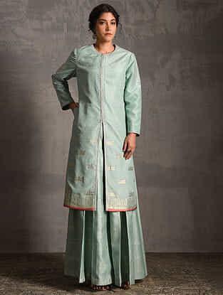 Sky Blue Printed Handwoven Banarasi Cotton-Silk Palazzos and Jacket (Set of 2)